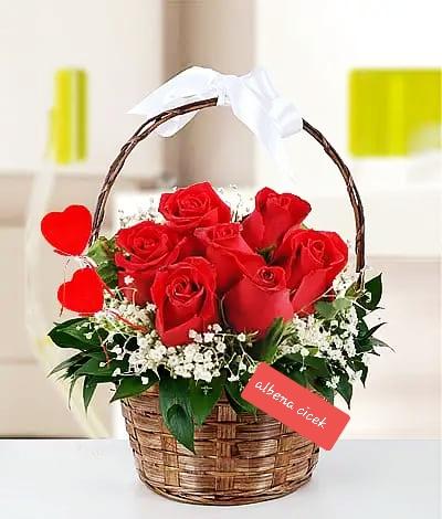 çiçek sepetim kýrmýzý güller