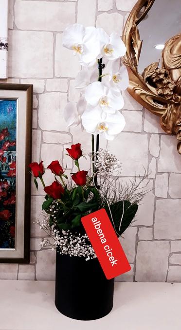 silindir Kutuda orkide kýrmýzý gül arajmaný