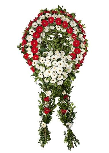 Kýrmýzý beyaz cenaze merasim çiçegi