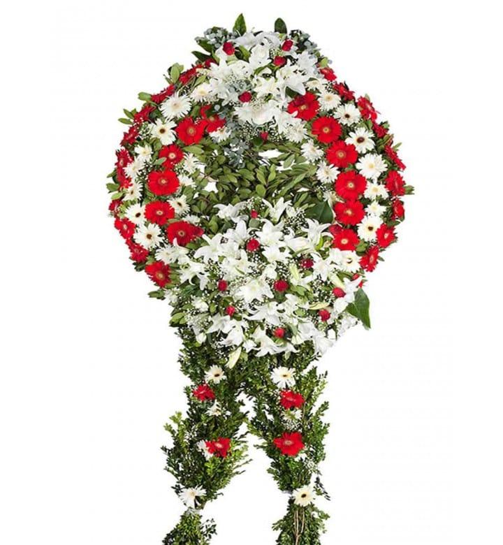 kýrmýzý beyaz cenaze çelengi