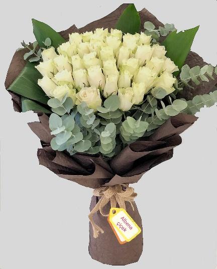 Aþkým için 35 beyaz gül çiçek buket