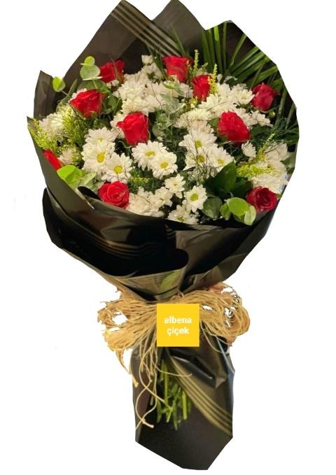 Papatya sevdasý papatya gül çiçek buketi